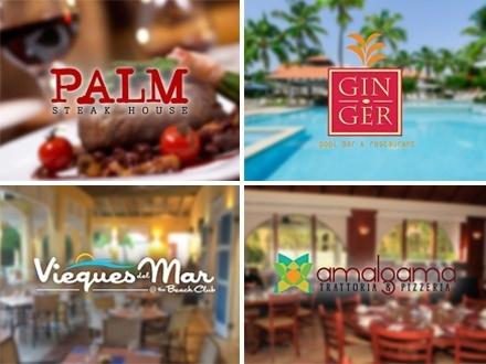 $25 por Gustazo de $50 para consumo del menú abierto en los Restaurantes de Palmas del Mar. Disfruta increíbles mariscos en Vieques del Mar, churrascos cocinados a perfección en Palm, cocteles creativos en GinGer Pool Bar, o cocina italiana auténtica en Amalgama... ¡escoge tu favorito!