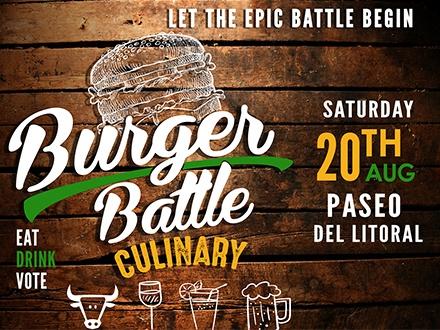 ¡Atención fanáticos de los burgers! $35 por 1 Boleto para el evento que incluye: Degustación de los mejores burgers todo incluido y bebidas de la casa de sobre 25 restaurantes diferentes + 3 Tragos o cervezas + Música en vivo + Participación en el People's Choice Award; el sábado, 20 de agosto de 2016