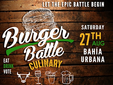 ¡Atención fanáticos de los burgers! $35 por 1 Boleto para el evento que incluye: Degustación de los mejores burgers todo incluido y bebidas de la casa de sobre 25 restaurantes diferentes + 3 Tragos o cervezas + Música en vivo + Participación en el People's Choice Award; el sábado, 27 de agosto de 2016