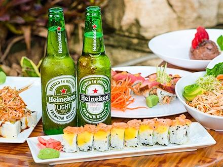¡Miércoles de Sushi! $19 por 2 Miso Soups + Crab Salad para compartir + 2 Cervezas Heineken + Consumo de $15 en menú abierto de sushi + Mousse de Nutella para compartir