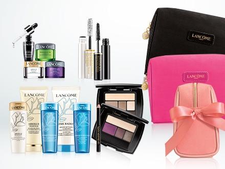 Al comprar $35 o más en productos Lancôme en Sears, recibes GRATIS una cartera de cosméticos con 6 productos tamaño promocional (valorados en hasta $143) + Con este Gustazo™ recibes adicional 1 suero + 1 humectante para el contorno de los ojos (ambos tamaño promocional) + 1 masaje facial con limpieza sónica, para un valor de hasta $252 en regalo