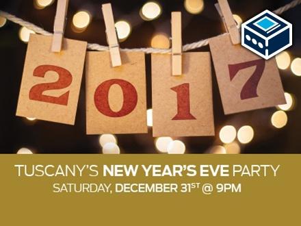 $49 por 1 Boleto para el Tuscany's New Year's Eve Party el sábado, 31 de diciembre de 2016, Presentación del aclamado DJ Joaquin Opio con Hits de los 80's y 90's; Incluye: 2 Tragos + Estacionamiento GRATIS + 15% de Descuento para cena en La Vista en tu próxima visita + $25 en Certificado Match Play para el Casino Stellaris
