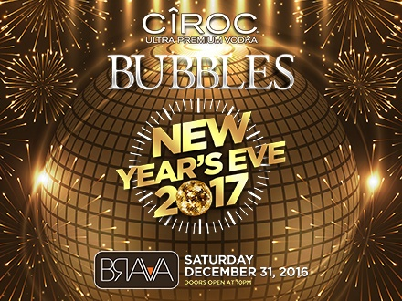 $65 por 1 Boleto para el 'Bubbles NYE 2017' que incluye: Open Bar + 4 Pases de entrada GRATIS para tu próxima visita a Brava (usar antes de marzo de 2017)